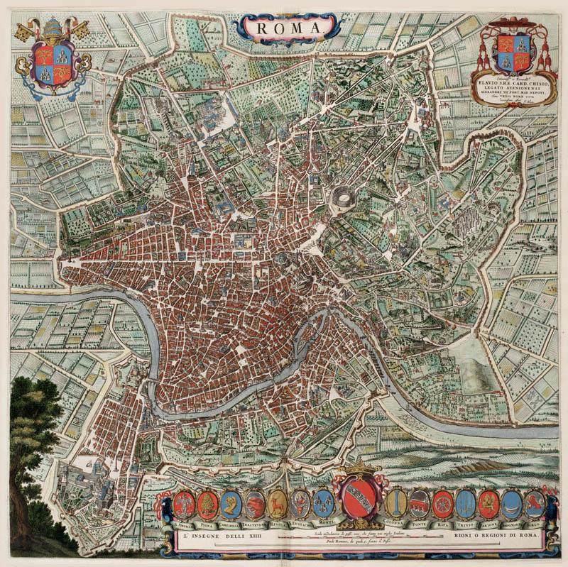 Rome 1649 blaeu oude landkaarten en plattegronden - Canape roma huis van de wereld ...