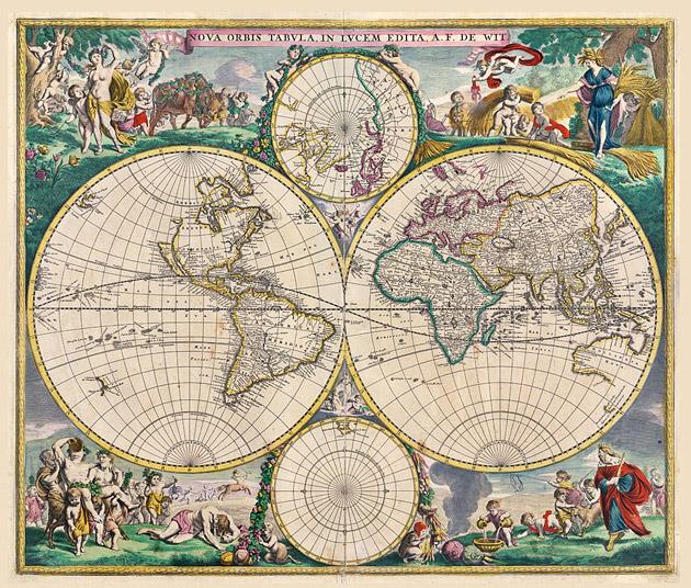 Wereldkaart Nova Orbis 1670 De Wit