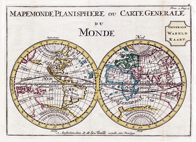 Wereldkaart 1706 Planisphere De la Feuille