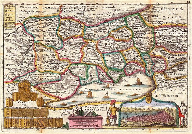Neuchatel Zwitserland 1747 De la Feuille