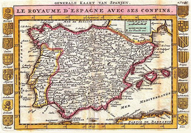 Spanje en Portugal 1747 De la Feuille