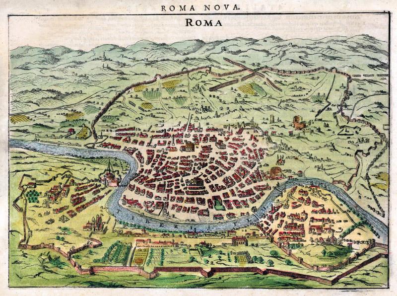 Roma nova 1627 hondius oude landkaarten en plattegronden - Canape roma huis van de wereld ...