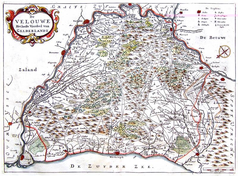 Gelderland 1654 Veluwe Geelkercken Oude Landkaarten En