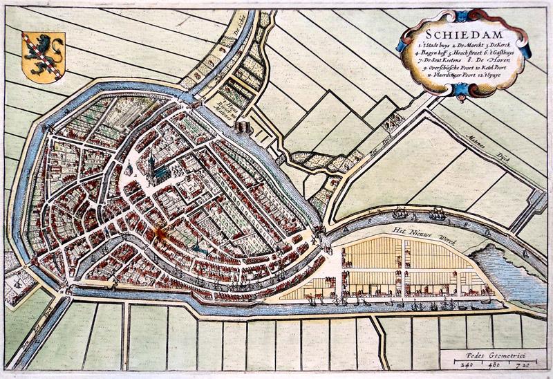Schiedam Oude Landkaarten En Plattegronden Oudelandkaarten Nl