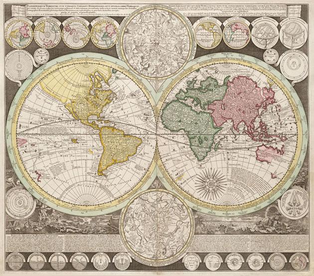 Planisphere wereldkaarten 1735 Ottens